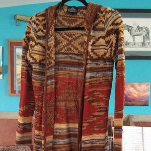 Red and brown calf length cardigan  with a hood